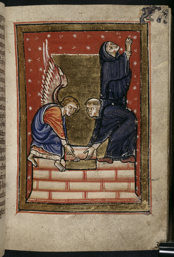 Cuthbert building his hermitage