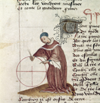Man with a pen and circle