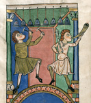 Musicians playing bells and a horn
