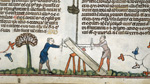 Two men sawing a plank