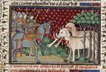 Alexander's knights killing elephants with spears