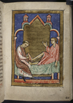 Man being healed by Cuthbert's shoes