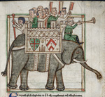 Men mounted on an elephant