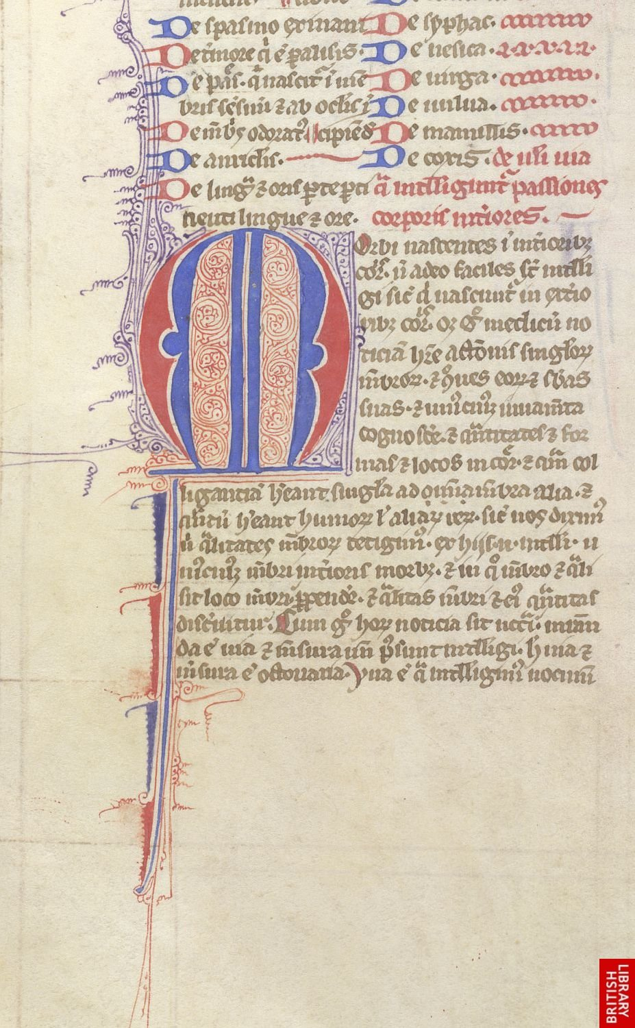 "Image: British Library, Sloane MS 3098, f. 61v , ""Pen-Flourished Initial."""
