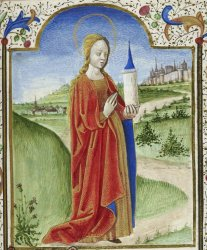 St Barbara with her tower, Harley MS 2948, f. 177