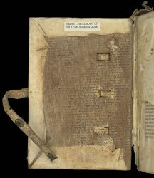 Offsets of the Hebrew script left by a former pastedown on the inside of the upper cover, Egerton MS 3775
