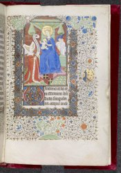 Margaret Willoughby kneeling before the Virgin and Child, Harley MS 2900, f. 200