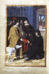 Pierre de Valtan presenting his book to the King of France Charles VIII, Additional MS 35320, f. 3v