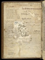 Various ownership marks, inside the upper cover of Stowe MS 35