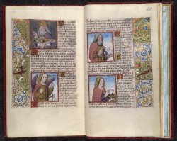 Suffrages to  God the Father, Michael, John the Baptist, and John the Evangelist, Stowe MS 28, ff. 64v-65