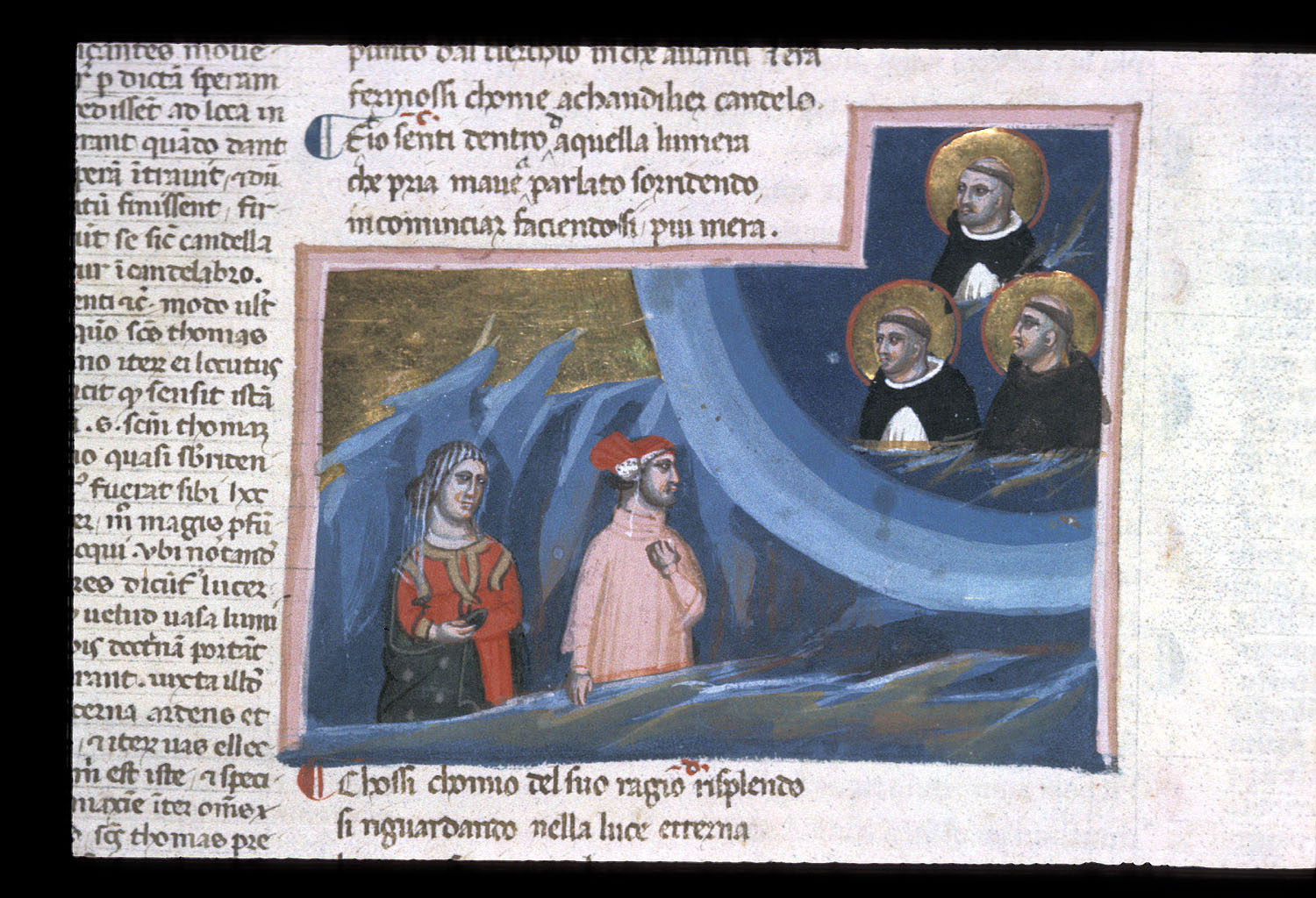Dominic, Thomas Aquinas, and  Francis in the heaven of the sun