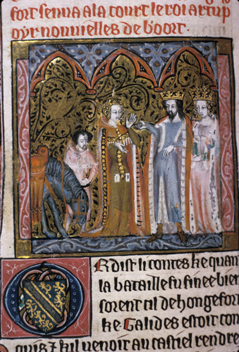Damsel of Hungerford with Arthur and Guinevere
