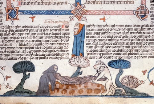 Monk and lion lifting Mary of Egypt