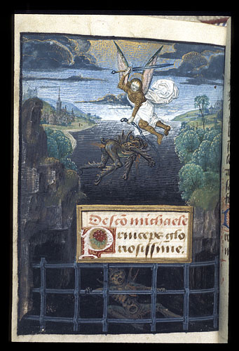Michael defeating Lucifer