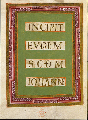 Incipit page to John