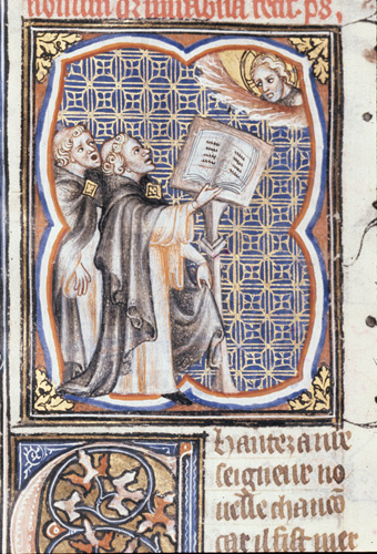 Two singers at a lectern