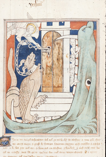 Angel with key and dragon