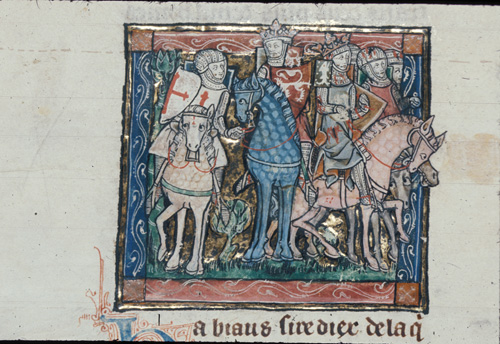 Two kings mounted with a knight