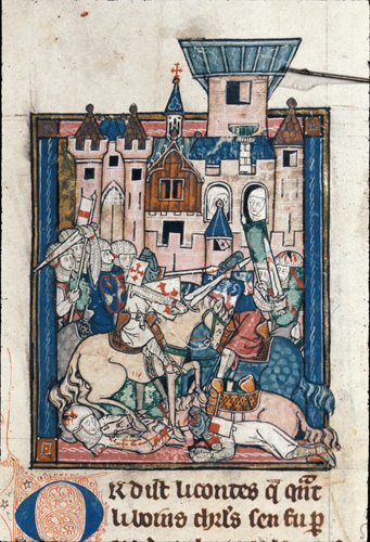 Sir Galahad wounding Sir Gawain in a tournament