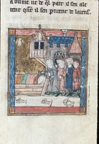 Arthur discovering the corpse of the Maid of Astola