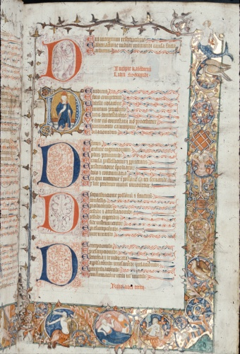 Borders with figures and birds, capital 'D's, text.