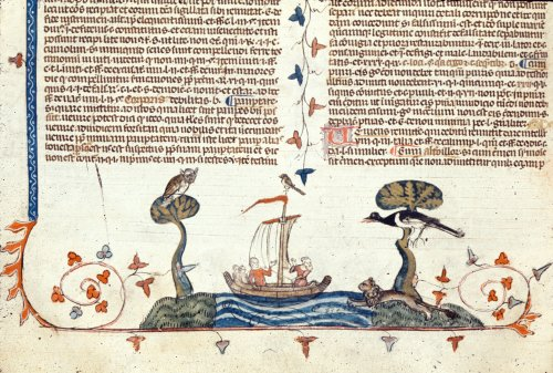 Ship pursued by a lion