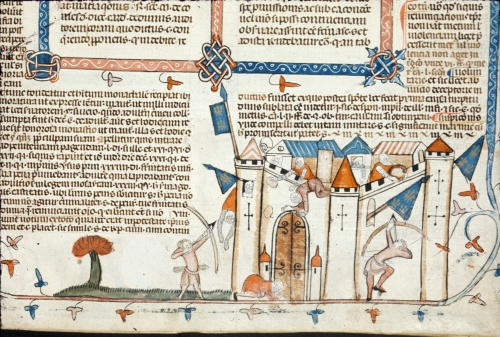 Archers attacking a castle