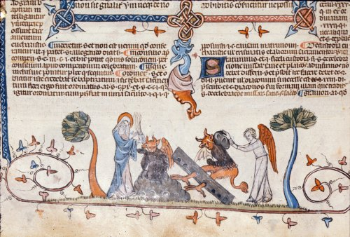 Virgin Mary and angels punishing devils