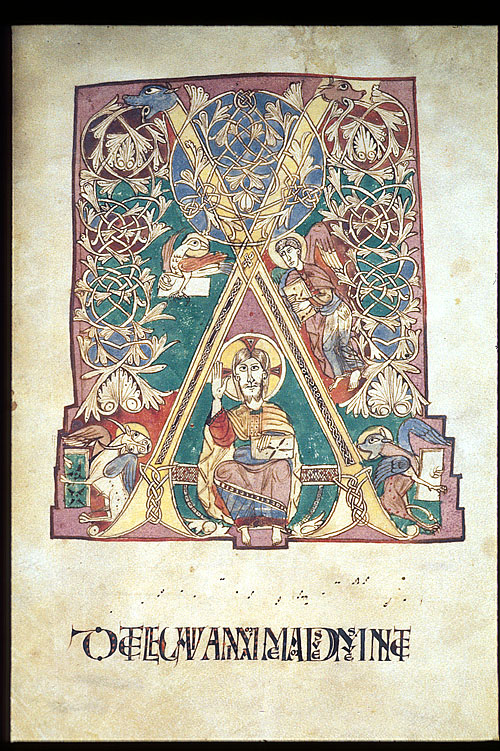 Christ and Evangelist symbols: eagle, angel, ox, and winged lion