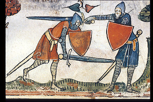 Two knights fighting over a hound