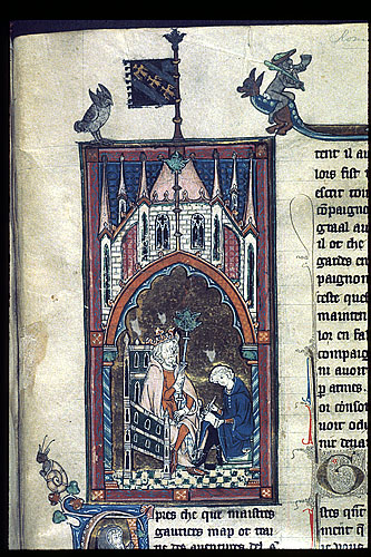 King Arthur dictating to a scribe