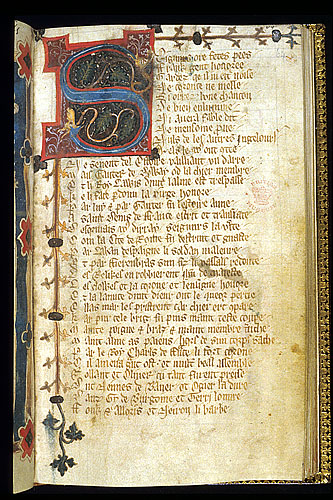 Decorated initial 'S'.