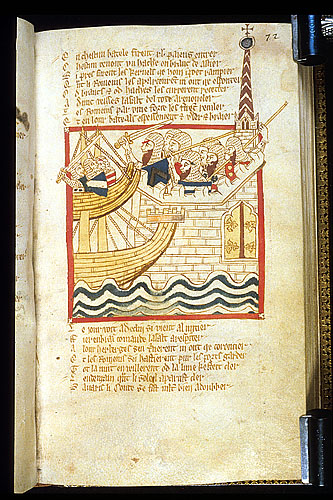 Drawing of a naval assault on Rome repelled.