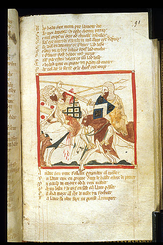 Drawing of Oliver fighting with Saracens.