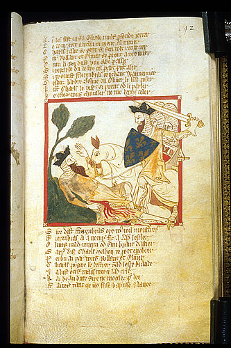 Charlemagne finds Fierenbras lying under a holm tree.