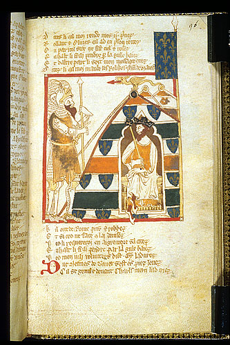 Charlemagne, in his tent, gives orders to Guy of Burgundy.