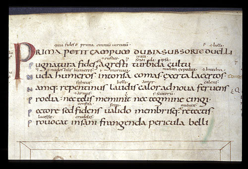Detail of text with interlinear glosses