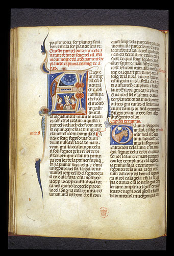 Historiated initial 'A' with figures