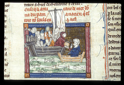 King Nascien being given bread at sea