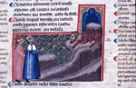 Dante and Virgil watch the minotaur from below