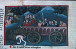 Chariot with the seven virtues and apostles