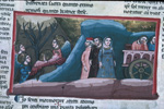 Angels dancing and Dante, Statius and Matilda follow the chariot