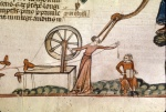 Woman at a spinning wheel