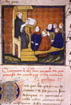 Scribe demonstrating to his pupils