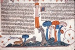 Stag and lion pursuing Mary of Egypt