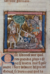 Sir Lionel killing a hermit and Sir Colgrevaunce