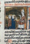 Two clerks before a bishop