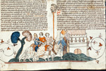 Knight, lady, and man with a head on a pole