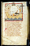 Laban and Floripas aboard ship, the Cross on the stern