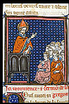 Miniature of a saint preaching.